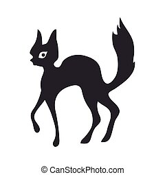 Black cat. Vector illustration, isolated on white.