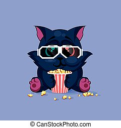 Black cat watching a movie