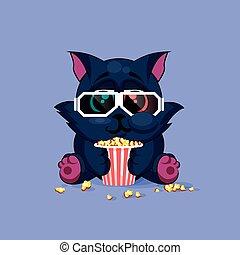 Black cat watching a movie