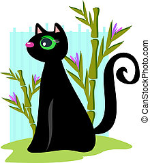 Black Cat with Bamboo