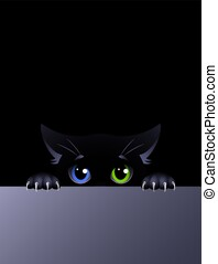 Black cat with eyes of different colors on the black background. Cute cartoon character.