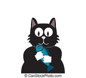 black cat with fish