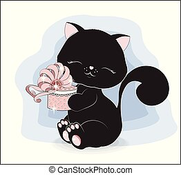 black cat with gift