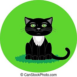 Black cat with green eyes. Cartoon character.