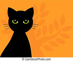 Black cat with green eyes halloween background