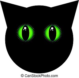 Black cat with green eyes on white background. Home pet.