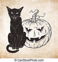 Black cat with halloween pumpkin - Black cat sitting with...