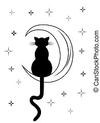 Black cat with long tail sitting on the moon among night...