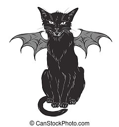Black cat with monster wings - Creepy black cat with monster...