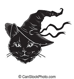 Black cat with pointy witch hat