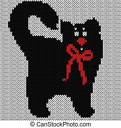 Black cat with red tie over white