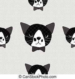 Black Cat with Ribbon on Gray Background
