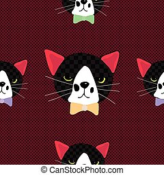 Black Cat with Ribbon on Red Background