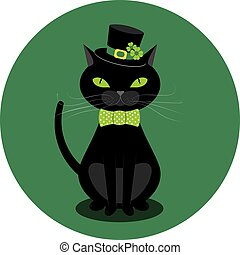 Black cat with shamrock