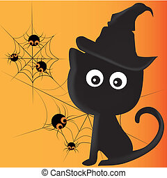 black cat with spiders