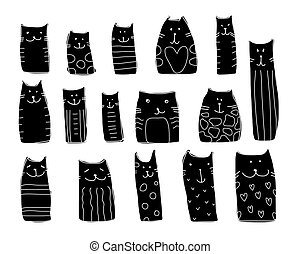 Black cats collection, sketch for your design