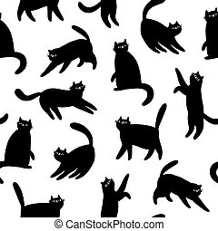 Black cats silhouettes, vector seamless pattern