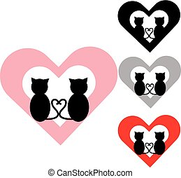 Black cats with color hearts on white background.