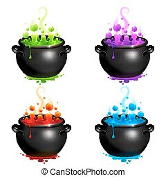 Black cauldrons set with colorful witches potion