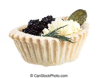 black caviar canape on white background