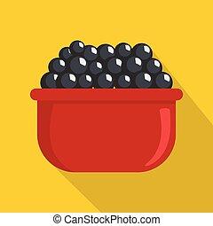 Black caviar icon, flat style