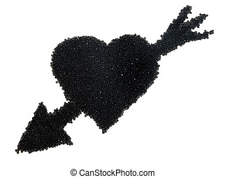 black caviar in the form of heart