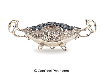 Black caviar isolated - Black caviar in a silver bowl ...