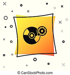 Black CD or DVD disk and gear icon isolated on white background. Adjusting app, service concept, setting options, maintenance, repair, fixing. Yellow square button. Vector Illustration
