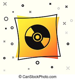 Black CD or DVD disk icon isolated on white background. Compact disc sign. Yellow square button. Vector Illustration