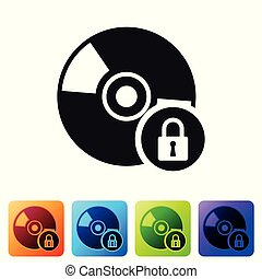 Black CD or DVD disk with closed padlock icon isolated on white background. Compact disc sign. Security, safety, protection concept. Set icon in color square buttons. Vector Illustration