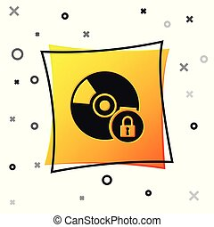 Black CD or DVD disk with closed padlock icon isolated on white background. Compact disc sign. Security, safety, protection concept. Yellow square button. Vector Illustration