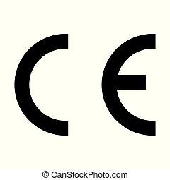 Black CE quality symbol. For banner, general design print and websites. Illustration vector.