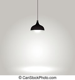Black ceiling lamp on gray background
