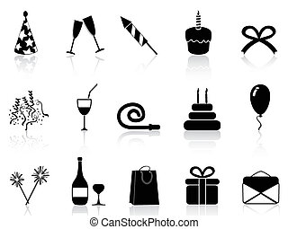 black celebration icons set