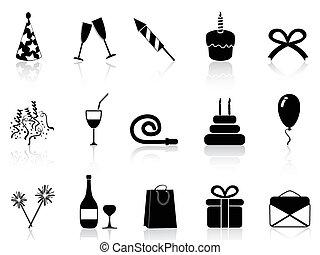 black celebration icons set