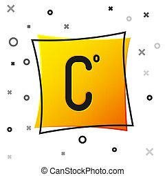 Black Celsius icon isolated on white background. Yellow square button. Vector Illustration