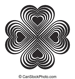 Black Celtic heart knot - stylized symbol. Made of hearts....