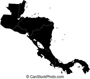 Black Central America map with country borders