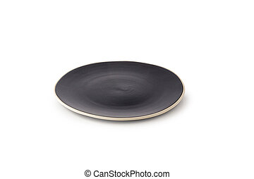 Black Ceramic Plate isolated on a white background