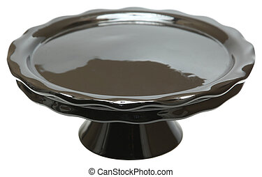 Black Cerramic Emtpy Cake Stand isolated over white.