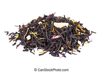 Black ceylon tea with rose petals, cornflowers, sunflower and almond slices, isolated on white background.