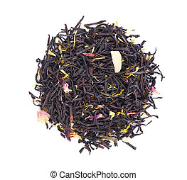 Black ceylon tea with rose petals, cornflowers, sunflower and almond slices, isolated on white background. Top view.
