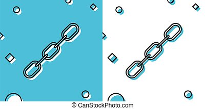 Black Chain link icon isolated on blue and white background. Link single. Random dynamic shapes. Vector Illustration