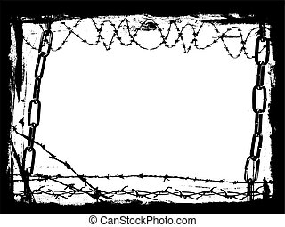 Black Chains and Barbed Wire Vector Grunge Border - Vector...