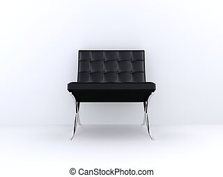 black chair - 3d rendered illustration of a black leather ...