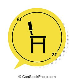 Black Chair icon isolated on white background. Yellow speech bubble symbol. Vector