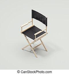 Black chair on the light grey floor, 3d rendering