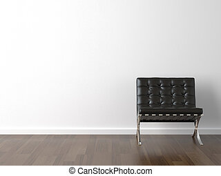 black chair on white wall - interior design of black ...