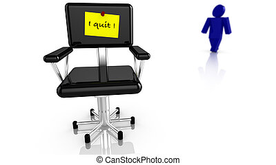 Black chair with resignation notice - Black office chair...