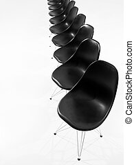 Black chairs in a row